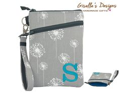 Grey dandelions and  Teal iPhone 6 holder with by GisellasDesigns
