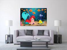 Little Mermaid Large Canvas Print, Disney Art Kids Room, Mermaid 1 or 3 Panel Canvas, Canvas Art Print, Extra Large Wall Art, Wall Decor by…