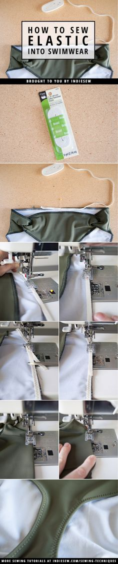 For smooth elastic finishes on your handmade swimwear, try the safety pin method! | Indiesew.com