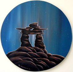 Northern Guide by Ron Disbrowe - Contemporary Canadian Native, Inuit & Aboriginal Art - Bearclaw Gallery  (inukshuk)