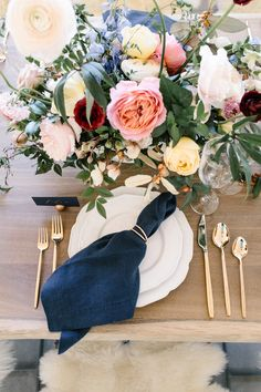 Colorful wedding flowers, Low centerpiece, Placesetting inspiration, Tablescape, Navy napkin, Gold flatware, Wedding centerpiece, Blush yellow marsala blue wedding colors, Greenery centerpeice    Crate and Barrel private registry event, how to register for your wedding, creating a wedding registry, wedding registry, Crate and Barrel, Crate wedding