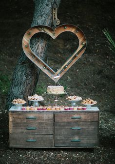 rustic dessert table for a vintage wedding decor backdrop, cottage chic wedding heart with old wood Party Decoration, Wedding Decorations, Bar A Bonbon, Deco Floral, Snacks Für Party, Wedding Desserts, Brunch Wedding, Boho Bride, California Wedding