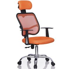 Modern Ergonomic Executive Fabric Mesh High Back Office and Computer Desk Chair Orange. Modern Ergonomic Executive Fabric Mesh High Back Office and Computer Desk Chair Orange.