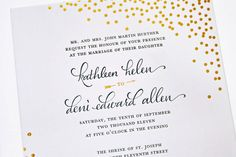 LOVE this entire suite! Gold Foil Stamped Calligraphy Wedding Invitations