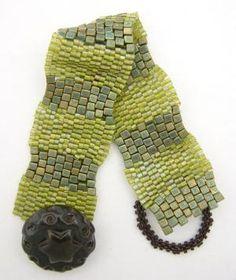 Easy peyote bracelet using 2-drop peyote and cubes.  #Seed #Bead #Tutorial by Shopway2much