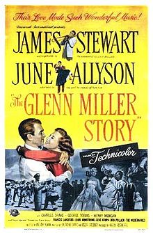 The Glenn Miller Story is a 1954 American film directed by Anthony Mann and starring James Stewart in their first non-western collaboration. The film follows big band leader Glenn Miller (1904–1944) (James Stewart) from his early days in the music business in 1929 through to his 1944 death when the airplane he was flying in was lost over the English Channel during World War II. Prominent placement in the film is given to Miller's courtship and marriage to Helen Burger (June Allyson).