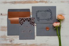 Copper and Rose Gold Foil Letterpress Wedding Stationery with wax seal. By Studio Seed. Photo by Holly Booth Photography