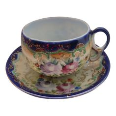 Royal Nippon Cobalt Cup Saucer Roses Asters Hand Painted