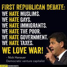 I would like to say that the republican debate was pathetic but then republicans would consider me uppity using big college words. So I'll just say republicans are pigs (sorry pigs. Nick Hanauer, Political Junkie, Vote Sticker, Political Views, Republican Party, Presidential Election, Hate, How To Plan, Sayings