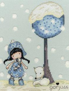 Gorjuss Fox Gloves Cross Stitch Kit £23.00 | Past Impressions | Bothy Threads