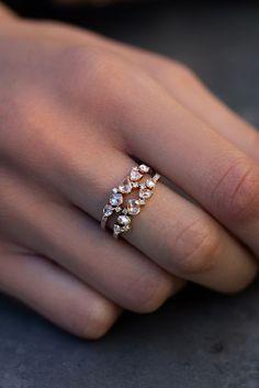 14kt gold and rose cut diamond cluster ring – Luna Skye by Samantha Conn #DiamondBracelets
