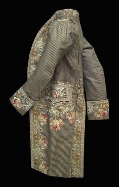 Man's Coat  Artist/maker unknown, French  Geography: Made in France, Europe Date: c. 1780-1800 Medium: Striped silk lampas weave with silk embroidery in satin, stem, straight, and rope stitches, French knots, and appliquéd silk net Dimensions: Center Back Length: 45 1/4 inches (114.9 cm) Chest (Width): 42 1/2 inches (108.0 cm) Accession Number: 1915-241