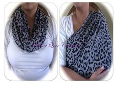 Cheetah Print  Nursing Scarf - Infinity Scarf - Breastfeeding Cover - Nursing Cover - Animal Print - - Grey and Black on Etsy, $15.00