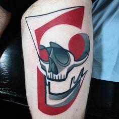 Awesome Guys Skull Pop Art Thigh Tattoo