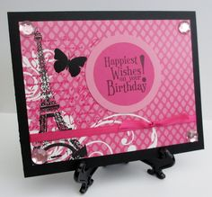 Handmade Teresa Collins Posh Collection Pink Paris Birthday Card by Anything Scrappy http://anythingscrappy.etsy.com/