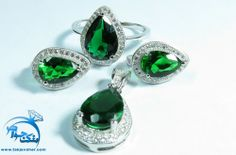سرویس طرح زمرد میکروستینگ اشکی Gemstone Rings, Gemstones, Earrings, Jewelry, Month Gemstones, Jewellery Making, Jewels, Ear Piercings, Jewlery