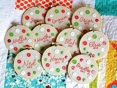 Handmade personalized mini embroidery hoop ornaments with buttons - to buy but would be easy to make!