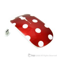 TopCase Polka Dot Design Red USB Optical Wireless Mouse for Macbook (pro , air) and All Laptop + TopCase Designed Chevron Mouse Pad