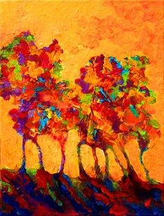 Beautiful Landscape Paintings  You can almost feel the heat in this painting. Love the flaming orange sky and the liquid flow of the tree trunks.