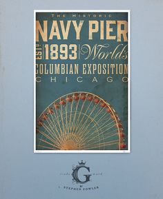 Chicago Navy Pier Ferris Wheel original graphic by geministudio, $25.00