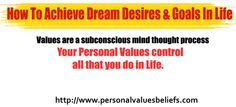 Values are a subconscious mind thought process.  Your Personal Values control all that you do in Life