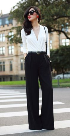 LOLO Moda: Elegant women fashion - black trousers, white button down