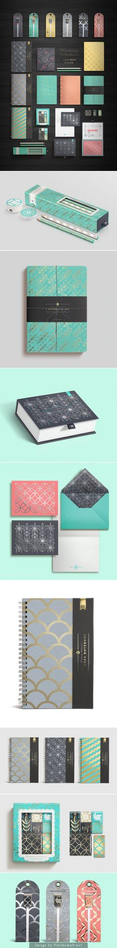 Kortney Collection Packaging. I love all of these products and the designs they have. They're all so soft, elegant and simple patterns yet each pattern would be able to mix and match with each other and still look good. For example, a notebook with a certain pattern would look good with a pencil of a different pattern. They all have their own unique style yet work well with all of the products as a whole.