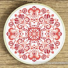 Tittle: Mandala coral  This PDF counted cross stitch pattern available for instant download.  Skill level: Beginner.  Pattern size (without