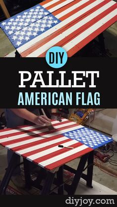American Flag Pallet Sign Tutorial - How To Make a Homemade Pallet Sign with the American Flag on It - Step by Step Instructions and Video Tutorial - Rustic Home Decor Ideas for Living Room, Bedroom, Patio or Porch http://diyjoy.com/diy-american-flag-pallet-sign