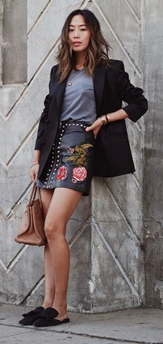 Amiee Song + season's hot-ticket items + leather + mini + embroidered motifs + cool and cultured look + oversized blazer + grey tee + sassy leather mini + embroidered red roses + pair of velvet Prada flats + ultimate in style + brown Birkin Bag!  Embroidered Leather Skirt: LPA, Blazer: (similar) Rag & Bone, Tee: Ragdoll, Birkin Bag: Hermes, Flats: Prada