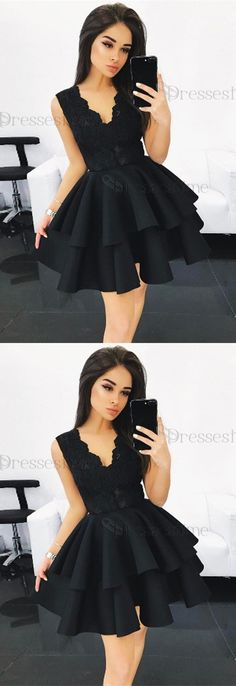 homecoming dresses short Black Homecoming Dress,V Neck Homecoming Dress,Lace Homecoming Dress,Ruffles Homecoming Dress,Short Prom Dress Hello! If you request some other details Lace Homecoming Dresses, Black Prom Dresses, Grad Dresses, Pretty Dresses, Beautiful Dresses, Evening Dresses, Dress Black, Women's Dresses, Black Dress Makeup