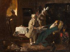 """La visita del doctor (""""The doctor visit""""). Fritz Schider. 1885. Localización: Anatomisches Museum (Basilea). https://painthealth.wordpress.com/2016/04/29/la-visita-del-doctor-3/"""