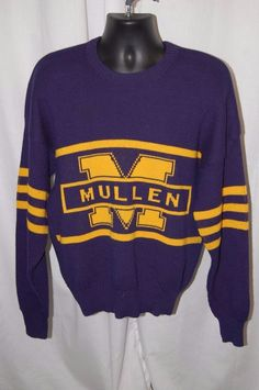 Vtg Cliff Engle Sweater XL Mullen Navy Pullover Yellow Wool Blend High School in Clothing, Shoes & Accessories, Men's Clothing, Sweaters | eBay