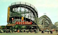 The Cyclone has become synonymous with Coney Island and is the iconic roller coaster for New Yorkers. After the famous first drop, passengers endure a harrowing barrage of twists and turns. It is oldest roller coaster of New York. Palisades Amusement Park, Coney Island Amusement Park, Amusement Park Rides, Palisades Park, Park In New York, Brooklyn New York, New York City, Brooklyn Bridge, Patti Smith