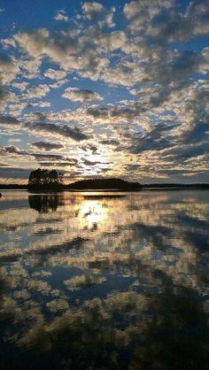 Heijastuksia / Reflections, Näsijärvi, Finland Finland, Airplane View, Reflection, Celestial, Sunset, Outdoor, Sunsets, Outdoors, Outdoor Games