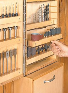 Is the storage for your drill press bits and accessories bursting at the seams? This wall cabinet will keep everything organized and close at hand.