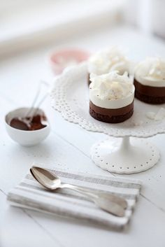 Tremendously pretty little cylinders of Chocolate, Hazelnut, and Coconut Mousse Cake.