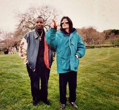 """""""Blue Gangsta"""" from Xscape was inspired by Michael's fascination with the gangster figure in film and folklore. #MJXscape. Photo: Michael with Dr. Freeze with whom he originally worked on the song while recording songs for """"Invincible."""""""