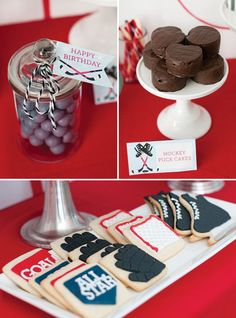 Fun Hockey Birthday Party Treats Puck Cakes Custom Cookies And More