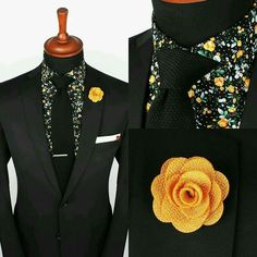 Black suit- floral fun shirt with yellow lapel flower. good look! Sharp Dressed Man, Well Dressed Men, Style Costume Homme, Lapel Flower, Mens Fashion Suits, Men's Fashion, Fashion Details, Black Suits, Suit And Tie