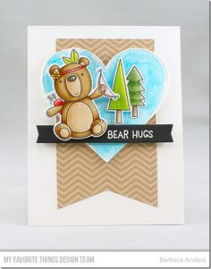 Beary Big Adventure Stamp Set and Die-namics, Stitched Jumbo Fishtail Banner STAX Die-namics, Stitched Heart STAX Die-namics, Blueprints 27 Die-namics - Barbara Anders  #mftstamps