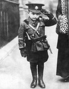 English boy in miniature WWI army uniform