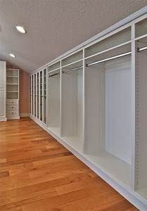 Master Closet White Inside Finished Attic with Angled Ceilings | Closets Floor Systems ...