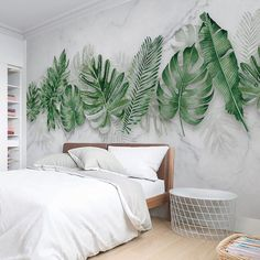 Watercolor Hand Painted Fresh Tropical Leaves Wallpaper Wall Mural, Tropical Leaves Seevral Green Tropical Leaf Mable Textured Wall Mural - Healty fitness home cleaning Tropical Bedrooms, Tropical Home Decor, Tropical Houses, Tropical Interior, Tropical Furniture, Wallpaper Wall, Leaves Wallpaper, Watercolor Wallpaper, Decoration Plante