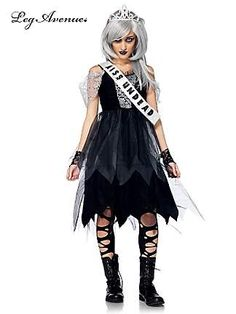 teen girls zombie prom queen dress and crown scary kids teen halloween costume