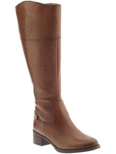 "Avg. 16 1/8"" circumference / Etienne Aigner Chip Wide Shaft boot in banana bread and black $189"