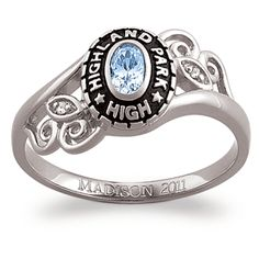 Sterling Silver Traditional Oval Stone & Diamond Swirl Class Ring- only $139.99!