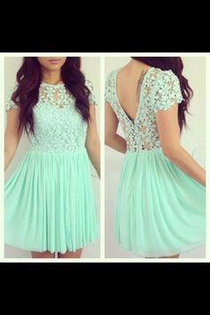 Tiffany blue dress with a flowery lace design<< OMG THIS IS SO PRETTY