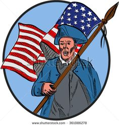 Drawing sketch style illustration of an american patriot carrying usa flag facing front set inside circle.  - stock vector #patriot #sketch #illustration