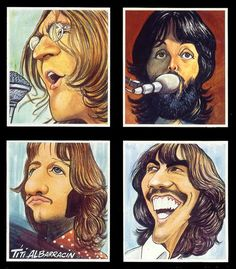 The Beatles' Let It Be cartoon Beatles Poster, Les Beatles, Beatles Art, Beatles Lyrics, Funny Caricatures, Celebrity Caricatures, John Lenon, Music Collage, Caricature Drawing